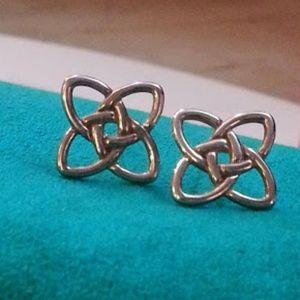 14kt & sterling Celtic straight knot earrings